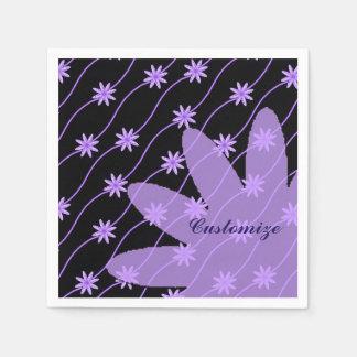 Serviettes Jetables Serviettes florales de motif de guirlande pourpre