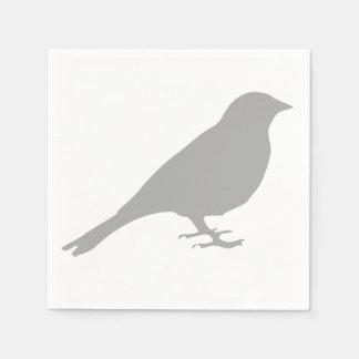 Serviettes Jetables Serviettes grises d'oiseau