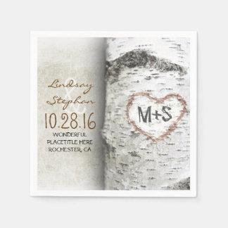 Serviettes Jetables Serviettes rustiques de mariage campagnard avec