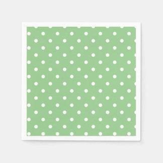 Serviettes Jetables Serviettes vertes et blanches de partie de point