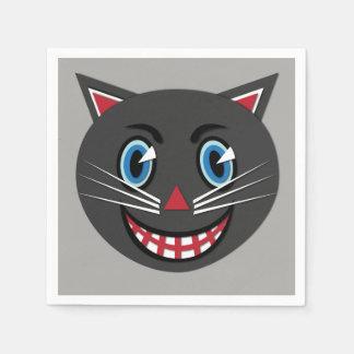 Serviettes Jetables Serviettes vintages de chat noir audacieuses