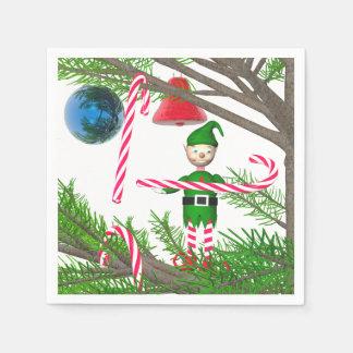 Serviettes Jetables Sucre de canne Elf de Noël