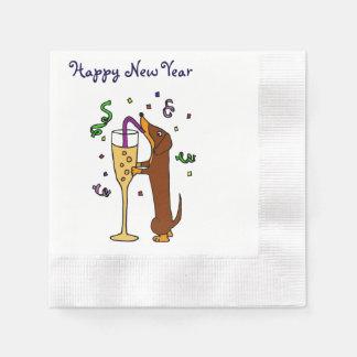 Serviettes Jetables Teckel drôle buvant Champagne