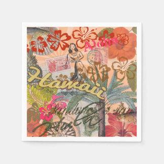Serviettes Jetables Tropical hawaïen coloré de voyage vintage d'Hawaï