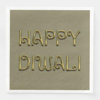 Serviettes Jetables Typographie brillante heureuse d'or de Diwali