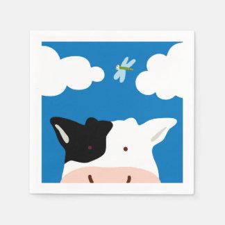 Serviettes Jetables Vache et libellule