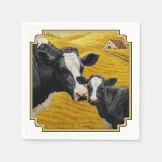 Serviettes Jetables Vaches du Holstein et vieille grange en bois