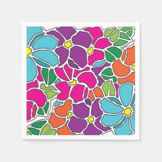 Serviettes Jetables Verre souillé floral vibrant