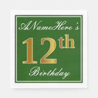 Serviettes Jetables Vert élégant, anniversaire d'or de Faux 12ème +