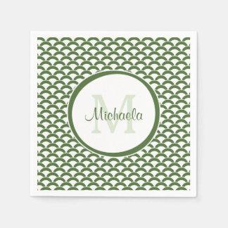 Serviettes Jetables Vert moderne et le blanc crante le monogramme et
