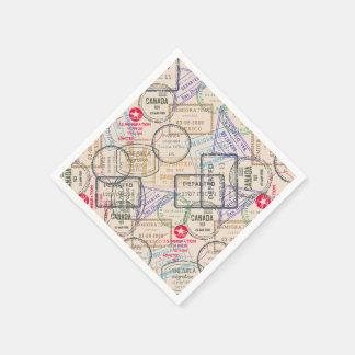 Serviettes Jetables Voyage de timbres de passeport