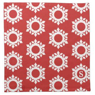Serviettes rouges de tissu de monogramme de motif