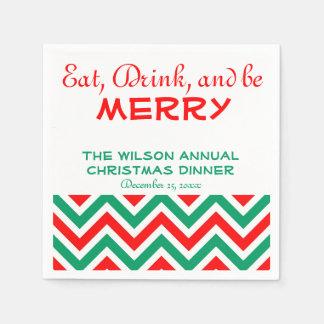 Serviettes rouges, vertes, et blanches de Noël de Serviettes Jetables