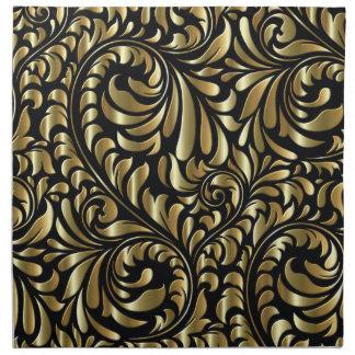 Serviettes - tissu - drame en noir et or