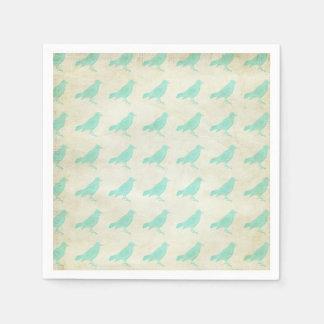 Serviettes turquoises vintages de motif d'oiseau serviettes jetables