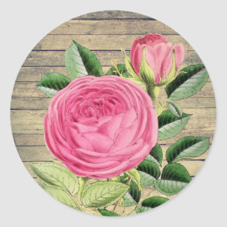 S'est levé l'autocollant vintage rustique floral sticker rond