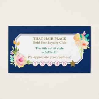 S'est levée la carte florale de fidélité de salon