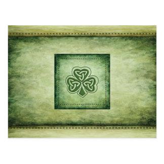 Shamrock à la mode vintage d'Irlandais de grundge Carte Postale