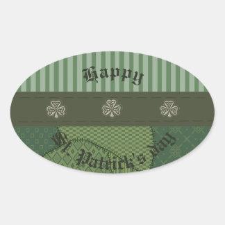 Shamrock chanceux irlandais de grundge d'amusement sticker ovale