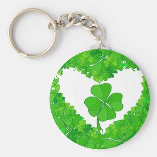 Shamrock chanceux vert porte-clé rond