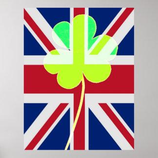 Shamrock irlandais britannique de drapeau drôle de