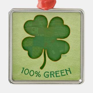 Shamrock irlandais - vert de 100% ornement carré argenté