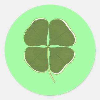 Shamrock vert-foncé, quatre autocollants de trèfle