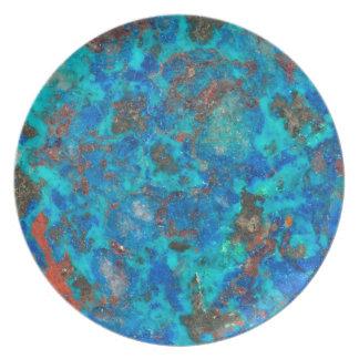 Shattuckite patterened par bleu assiettes en mélamine
