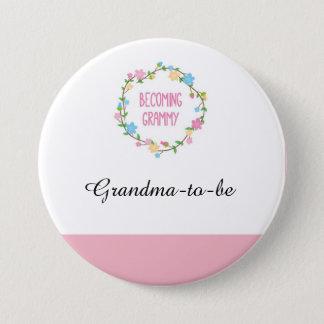 Shower=pink élégant de bébé de fleur badge rond 7,6 cm