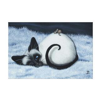 Siamese Kat door BihrLe Canvas de Druk van de Kuns