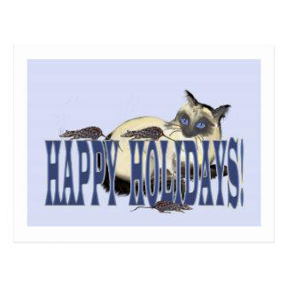 Siamois et souris bonnes fêtes carte postale