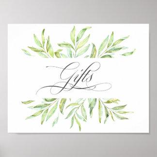 Signage de cadeaux de mariage de verdure poster