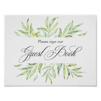 Signage de livre d'invité de mariage de verdure poster