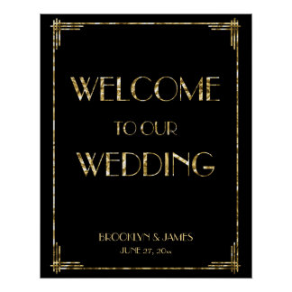 Signe 24x30 de réception de mariage d'art déco de