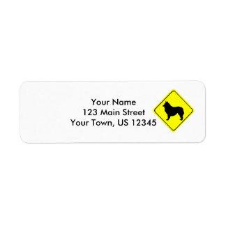 Signe belge de croisement de silhouette de chien étiquette d'adresse retour