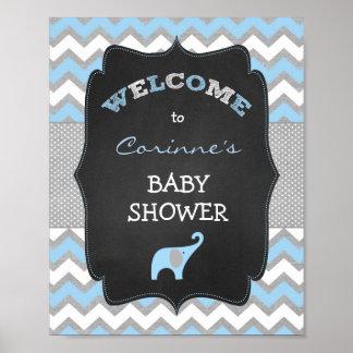 Signe bienvenu bleu du baby shower 8x10 d'éléphant