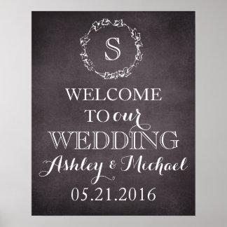 Signe bienvenu de mariage de date de nom de marié