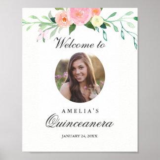 Signe bienvenu de Quinceanera de photo botanique Poster
