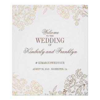Signe bienvenu d'or floral et de mariage vintage