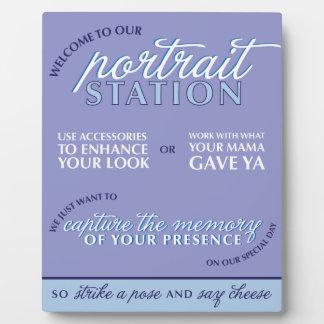 Signe bleu de cabine de photo de mariage impression sur plaque
