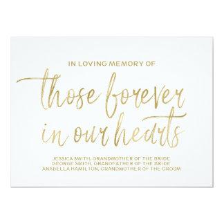 Signe commémoratif fait sur commande d'or en carton d'invitation  16,51 cm x 22,22 cm