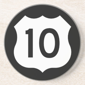 Signe de l'itinéraire 10 des USA Dessous De Verre En Grès