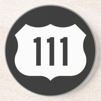 Signe de l'itinéraire 111 des USA Dessous De Verre En Grès