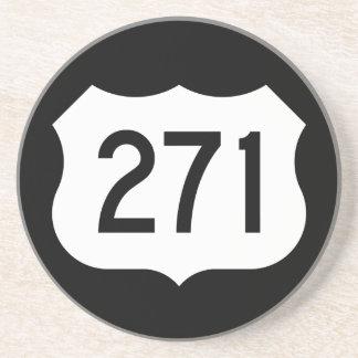 Signe de l'itinéraire 271 des USA Dessous De Verre En Grès