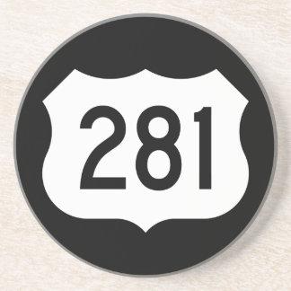 Signe de l'itinéraire 281 des USA Dessous De Verre En Grès