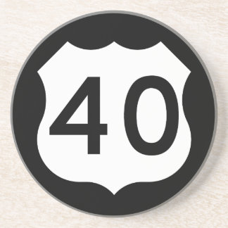 Signe de l'itinéraire 40 des USA Dessous De Verre En Grès