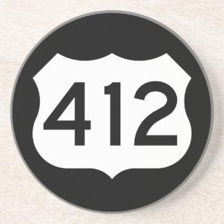 Signe de l'itinéraire 412 des USA Dessous De Verre En Grès