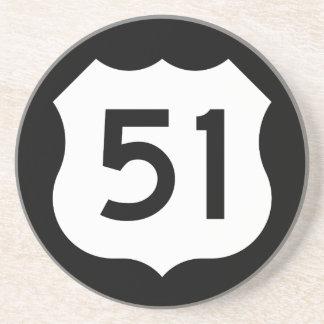 Signe de l'itinéraire 51 des USA Dessous De Verre En Grès