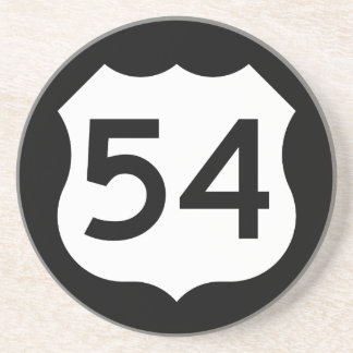 Signe de l'itinéraire 54 des USA Dessous De Verre En Grès