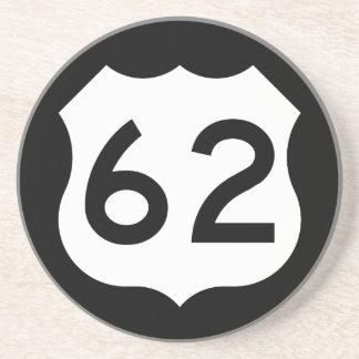 Signe de l'itinéraire 62 des USA Dessous De Verre En Grès
